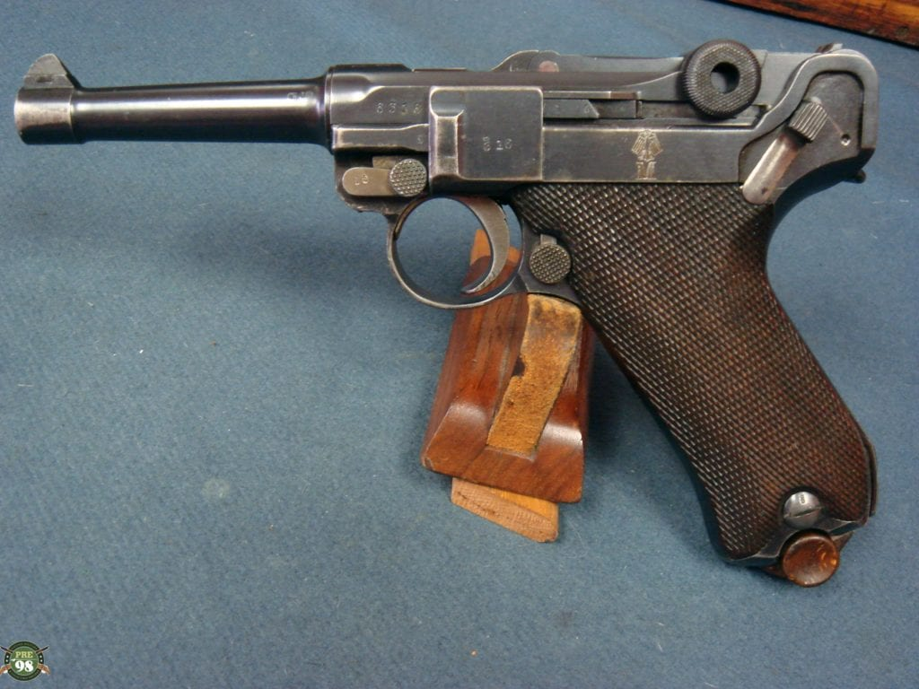 SOLD EXCEPTIONALLY RARE EARLY NAZI NAVY LUGER ORIGINAL ULTRA RARE ERFURT  1914 LUGER EAGLE M MARKED FULL RIG