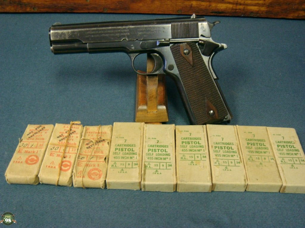 SOLD SCARCE BRITISH WW1 COLT 1911 GOVERMENT MODEL PISTOL  455  WEBLEY     EARLY 1916 SHIPMENT    WITH 9 PACKETS OF ORIGINAL AMMO!